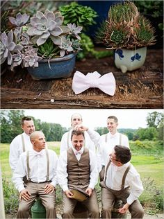 groom style --- not a fan of bowties, but perfect tan pants, vests, and suspenders