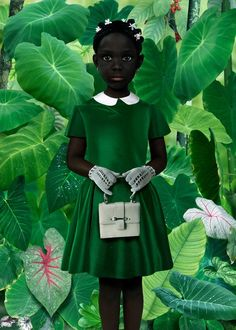 Little black girl in green dress. She is so pretty! Photo by Dutch visual artist Ruud van Empel Posters Vintage, Afrique Art, Photocollage, Wow Art, Black Women Art, My Black Is Beautiful, Stunningly Beautiful, Pics Art, Oeuvre D'art