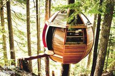 Secret Loft In The Woods, Canada by, Joel Allen, built the HemLoft, a pod sized treehouse. :)
