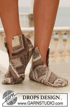 Ravelry: 113-4 Slippers in domino pattern pattern by DROPS design