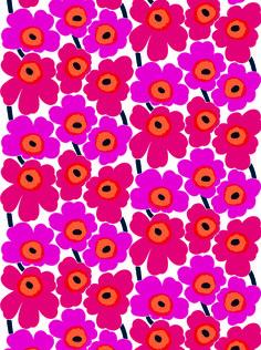 Pieni Unikko cotton canvas fabric by Marimekko Fabric Patterns, Flower Patterns, Print Patterns, Flower Pattern Design, Design Textile, Fabric Design, Flower Wallpaper, Iphone Wallpaper, Wallpaper Online