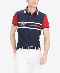 Tommy Hilfiger Men's Logo Graphic Polo, Created for Macy's - Navy Blazer Camisa Polo Tommy, Men Logo, Plus Size Activewear, Dresses With Leggings, Casual Button Down Shirts, Tommy Hilfiger, Sweaters For Women, Blazer, Mens Tops