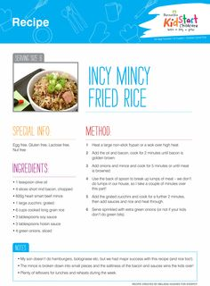 Incy Mincy Fried Rice - Just what it says on the tin! Egg, gluten, lactose and nut free...