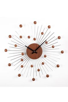 Mid Century Wood & Silver Star Clock on @HauteLook