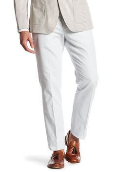 "Foundation Grey Woven Regular Fit Double-Pleated Cotton Trouser - 30-32"" Inseam"