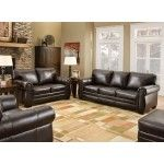 Simmons Upholstery - 4 Piece Bonded Leather Queen Sleeper Sofa Set in Panama Espresso - 8369QLCO