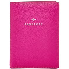 Fossil 'Gifts' Leather Passport Case (680 UYU) ❤ liked on Polyvore featuring bags, luggage, fillers, extras, pink fillers and hot pink