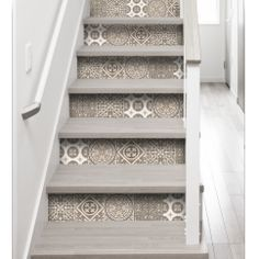 Fake cement tile riser decals - adhesive for stair rise fake cement tile design - riser stickers with fake blue cement tile - adhesive stair riser decals Cottage Design, House Design, Painted Staircases, Decoration Stickers, Small Space Interior Design, Stair Decor, House Stairs, Staircase Design, Home Decor Furniture