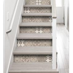 Faux carreaux de ciment - contremarche beige - imitation carreaux de ciment contremarches beige - rénovation escaliers