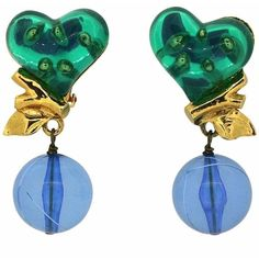 Preowned Christian Lacroix 1990s Vintage Perspex Heart Earrings ($210) ❤ liked on Polyvore featuring jewelry, earrings, blue, vintage blue earrings, vintage lucite jewelry, vintage clip earrings, vintage jewelry and blue heart earrings