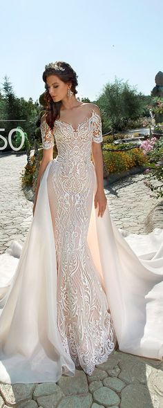 Off Shoulder Long Sleeve Wedding Dress Sexy Mermaid Backless Lace Bridal Gowns TERCIA