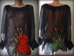 Black felted blouse for women with poppies by Gariana on Etsy