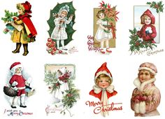 "Stickers (8pics 2.5""x3.5""each) FLONZ Craft 441-0310 Vintage Christmas Happy Kids   eBay"