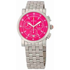Michele Sport Sail Hot Pink Dial Ladies Watch ($397) ❤ liked on Polyvore featuring jewelry, watches, quartz movement watches, sports wrist watch, sport wrist watch, chronograph watches and stainless steel watches