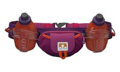 Nathan Trail Mix Plus Hydration Belt, Very Berry/Vivacious, One Size. Ergo-shaped soft monofilament belt offers multi-directional stretch that eliminated bounce. Speed fit holsters provide easy, one-handed, on-the-fly access to hydration and nutrition. Two 10 oz/300 ml insulated flasks with push-pull caps. Zip pocket with key ring clip and front stash pouch for gels and fits up to iPhone 6 plus. Elastic keepers neatly hold excess straps.