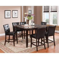 Brassex Faux Marble 7pc Pub Series, 1 Table + 6 Stools