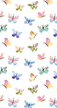 Watercolor multi-colored butterfly pattern