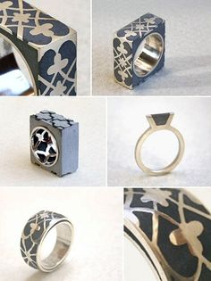 Concrete rings - by Israels Hadas Shaham  Defying the cold, industrial style you might expect from a line of concrete jewellery, her pieces are architectural with a pretty flourish — little pieces of paved paradise that even Joni Mitchell might appreciate.    http://www.hadas-shaham.com/