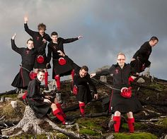 The Red Hot Chilli Pipers are a bagpipe playing rock group who cleverly fuse rock music with traditional calling it 'Bagrock'. Their main aim is to encourage as many people as possible to be proud of Scottish Music.