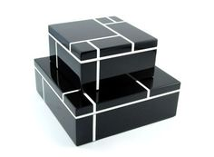 """Gift Boxed: Large Black Grid Lacquer Box Sq: 14"""" x 5"""""""
