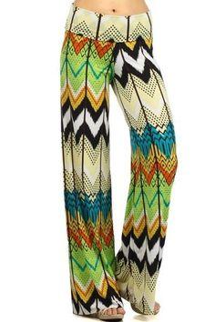 Green Multi-Color Tribal Print Full Length Fold Over Waist Band Wide Leg Palazzo #GingasGalleria #Palazzo