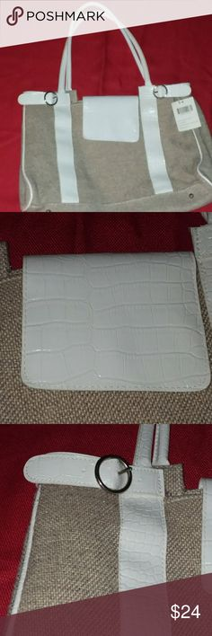 New Hand held bag White and cream leather cloth bag. New with tags clean on the inside. no name Bags Shoulder Bags