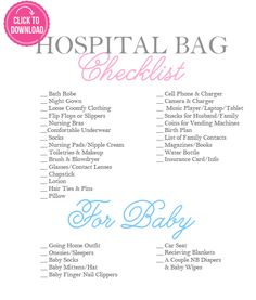 "Hospital Bag Essentials A Checklist for Mom and Baby I remember thinking that ""packing the hospital bag"" would be something I did way down the road when I was much more prepared for baby But now that I've finished week 34 of my pregnancy, the - e Mama Baby, Baby Boy, Mom And Baby, Our Baby, Hospital Bag Essentials, Hospital Bag Checklist, Baby Checklist, Newborn Essentials, Hospital List"