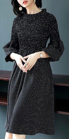 Fashionb O-Neck Long Sleeve Dot Print Skater Dress