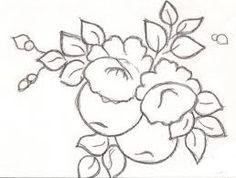 risco para pintura em tecido pano de prato rosas