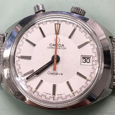 Omega Chronostop Geneva cal. 920 under-wrist design DRIVER watch repaired @manhattantimeservice #authorized Omega #watchmaker http://www.watchrepairny.com/omega-watch-repair/