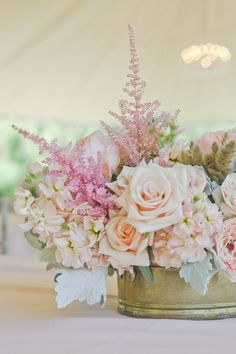 low-arrangement for sweetheart table....add eucalyptus and peach coffee cherries, a pop of brighter pink with a few large pink roses...