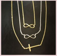 Dainty infinity and cross necklaces to layer or wear alone #Infinity #Montage #Jewelry #Gold #Silver