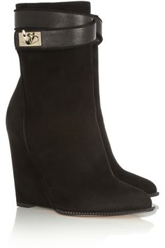Givenchy|Shark Lock suede wedge ankle boots|NET-A-PORTER.COM