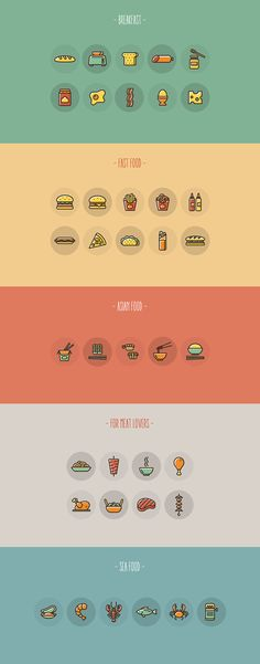Food Icon Set // Free - Designed for Freepik.com You are free to use for personal or commercial purposes, to share or to modify it. You are not allowed to sub-license, resell or rent it.