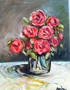 Roses Original Oil Painting in Pinks and Reds by recycledwoodart