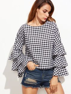 Online shopping for Black Gingham Layered Sleeve Top from a great selection of women's fashion clothing & more at MakeMeChic. Hijab Fashion, Fashion Clothes, Fashion Outfits, Vestidos Country, Moda Jeans, Sleeves Designs For Dresses, Modelos Plus Size, Black And White Tops, Woman Outfits