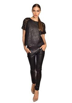 Cage leather blouse Guy Laroche, Cage, Leather Pants, Capri Pants, Fashion Outfits, Guys, Blouse, Clothes, Leather Jogger Pants
