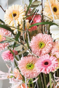 Close-up of a colourful gerbera bouquet #flower #floral #pinkgerberas #whitegerberas #inspiration #colouredbygerbera #dutchgerbera