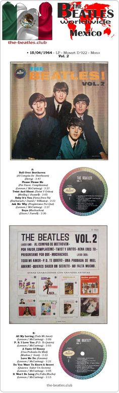 The Beatles Mexico LP Musart D 922 The Beatles! Vol. 2 Vinyl Record Long Play Discography