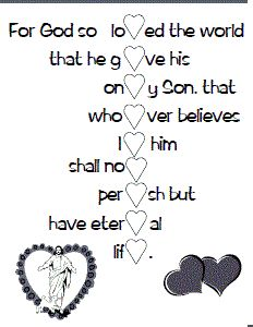 Printable verse activity sheet - spells Valentine when finished. Sunday School Activities, Sunday School Lessons, Sunday School Crafts, School Fun, Ccd Activities, Catholic Kids, Kids Church, Catholic Icing, Church Ideas