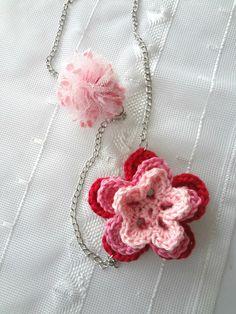 crochet flower necklace free pattern