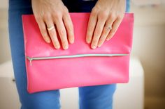 DIY Leather Fold Over Clutch - loving the pink!