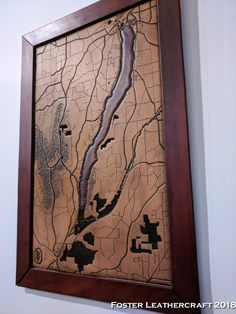 Canandaigua Lake, Scale Map, Unique Gifts, Best Gifts, Third Anniversary, Custom Map, Leather Craft, Hand Carved, Carving