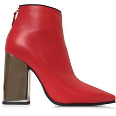 Emilio Pucci Designer Shoes Cherry Red Leather Ankle Boot