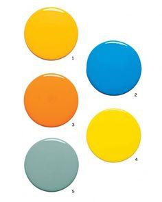 Try color no. 3 for window trim & pocket doors (Ben Moore Startling Orange). Color no. 5 could also be interesting (Martha Stewart/Home Depot Hosta Teal).