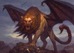 A manticore is a mythological creature that was said to be unconquerable. The mighty beast is best known for its strange but magnificent features. It is often said that the beast had the head of a man, the body of a lion, and the tail of a scorpion. Weird Creatures, Magical Creatures, Greek Mythological Creatures, Greek Monsters, Dnd Monsters, Manticore, Legends And Myths, Legendary Creature, Vampire