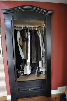 I think I love this!  But what am I so afraid of? :) organ, closets, faux armoir, hous, hideaway closet, diy, armoires, bedroom, decor idea