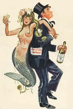 A collection of vintage artworks featuring mermaids. From Halloween Sirens to wine-toting art nouveau mermaids, these hybrid sea-women have never fail...