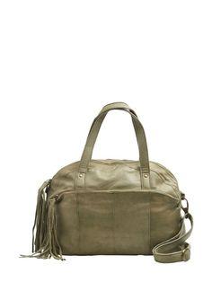 LEATHER SHOULDER BAG, Khaki Green