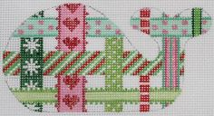 Whale ribbons needlepoint canvas from Kate Dickerson in Christmasy colors